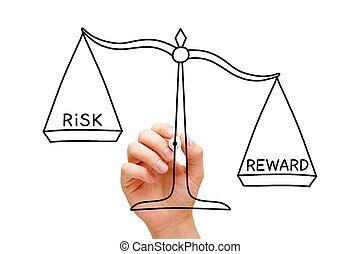 concetto, ricompensa, scala, rischio