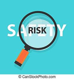 concetto, rischio, affari, simbolo, analisi, vetro, sicurezza, ingrandendo