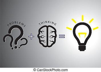 concetto, risolvere, -, soluzione, esso, cervello, usando, problema