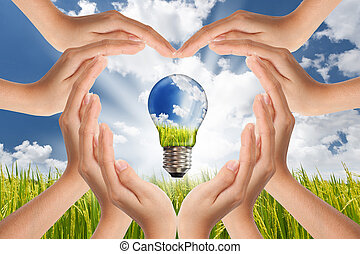 concetto, risparmio, luce, energia, globale, pianeta, luminoso, verde, soluzioni, mani, bulbo, paesaggio