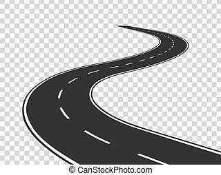 concetto, road., asfalto, isolato, highway., sinuosità, viaggio, traffico, strada, orizzonte, perspective., linea curva, vuoto