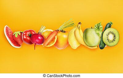 concetto, sano, bandiera, cibo, fruits., colorito