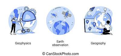 concetto, scienza, illustrations., vettore, astratto, planetario