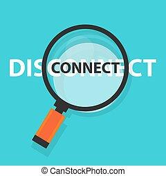 concetto, sconnettere, affari, simbolo, analisi, vetro, collegare, tecnologia internet, ingrandendo