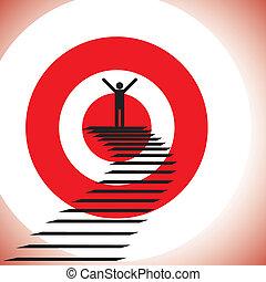 concetto, scopo, successo, &, raggiungimento, challenge., illustrazione, vincente, persona, grafico, detemined, fiducioso, mostra, ottenere, bersaglio
