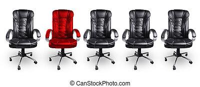 concetto, sedie ufficio, nero, stare in piedi, rosso, fuori