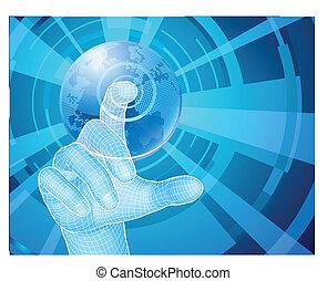 concetto, selezione, globo, mano, fondo, mondo