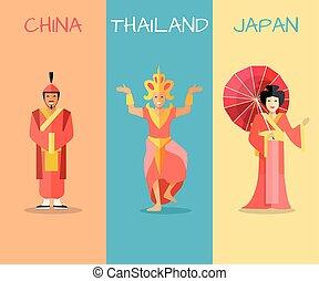 concetto, set, attrazioni, culturale, vettore, asiatico