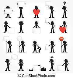 concetto, set, vettore, uomo, icona, 3d