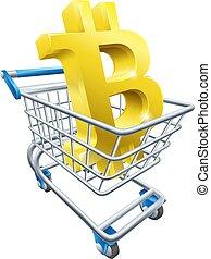 concetto, shopping, bitcoin, carrello