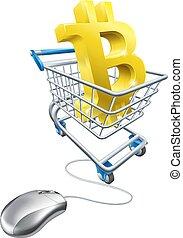 concetto, shopping, bitcoin, carrello, mouse elaboratore