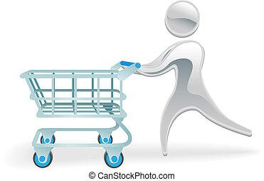 concetto, shopping, carattere, carrello, metallico, trolly