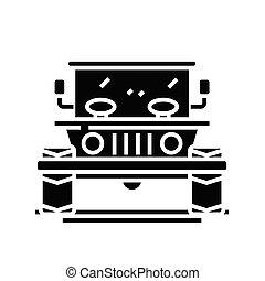 concetto, simbolo, glyph, vettore, illustrazione, icona, appartamento, nero, segno., jeep