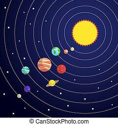 concetto, sistema, solare