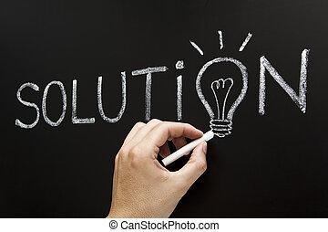 concetto, soluzione, mano, disegno