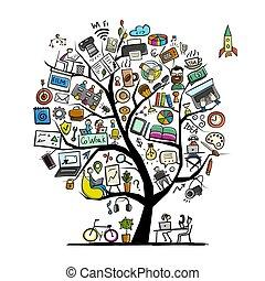 concetto, spazio, albero, coworking, disegno, tuo