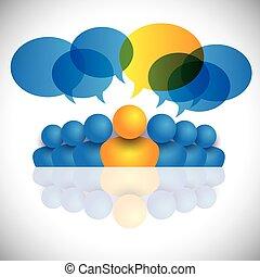 concetto, staff., ufficio, &, o, direttore, direzione, condottiero