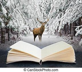 concetto, stagione, festivo, aperto, composito, digitale, cervo, rosso, foresta, neve, libro, cervo, bello, inverno, coperto, immagine, paesaggio, wth