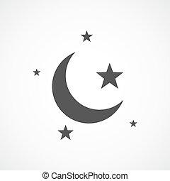 concetto, stella, illustration., luna, vettore, notte, icon., sleep.