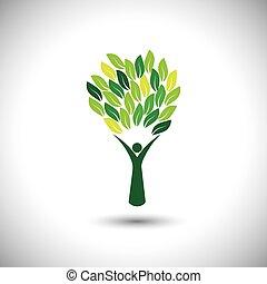 concetto, stile di vita, colorito, persone, eco, -, albero, vector.