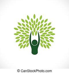 concetto, stile di vita, natura, eco, albero, -, persona, vector.