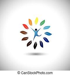 concetto, stile di vita, natura, eco, &, -, vettore, cerchio, equilibrio, ic, persone