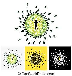 concetto, stile di vita, natura, eco, &, -, vettore, cerchio, equilibrio, persone, icona