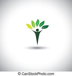 concetto, stile di vita, natura, eco, &, -, vettore, icon., equilibrio, persone