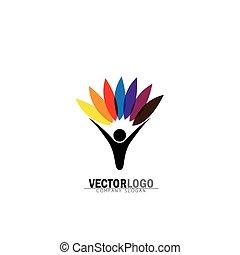 concetto, stile di vita, natura, eco, &, -, vettore, logotipo, icon., equilibrio, persone