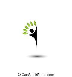 concetto, stile di vita, persone, eco, -, albero, vettore, logotipo, icona