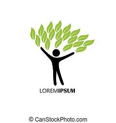 concetto, stile di vita, persone, eco, -, natura, albero, vector., abbracciare, o
