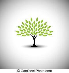 concetto, stile di vita, persone, eco, -, natura, albero, vettore, abbracciare, o