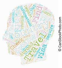 concetto, studenti, testo, viaggiare, un po', wordcloud, fondo, punte