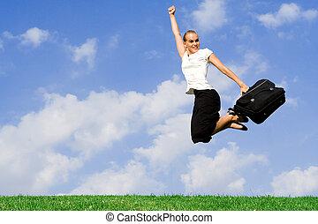 concetto, successo, affari, donna d'affari, -, saltare
