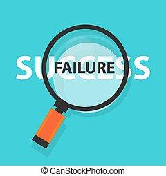 concetto, successo, affari, fallimento, simbolo, analisi, vetro, dietro, ingrandendo