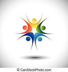 concetto, successo, gioia, festeggiare, saltare, squadra