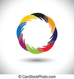 concetto, symbols(icons), graphic-, mano, vettore, umano, cerchio, r, o