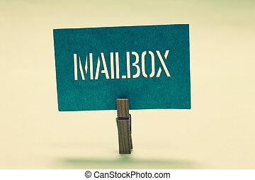 concetto, testo, computer, file, messaggio, consegnato, presa a terra, posta, email, turchese, molletta, comunicare, ideas., significato, importante, palo, montato, scatola, carta, scrittura, dove, mailbox.