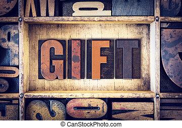 concetto, tipo, regalo, letterpress