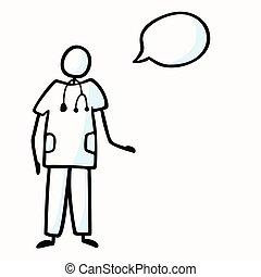 concetto, trattamento, discorso, bastone, motivo, clip, vettore, bolla, dottore, medico, stethoscope., hospital., chirurgia, medico, infermiera, cura, salute, cartone animato, mano, eps, illustration., disegnato, figura, arte, icona, 10, o