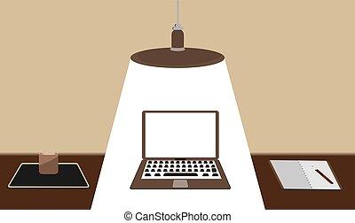 concetto, ufficio, laptop, moderno, caffè, libri, disegno, workspace., documenti, tazza, lampada, creativo, nota, penna, digitale, appartamento, soffitto, fondo, scrivania, objects., congegni, vettore