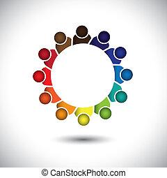 concetto, ufficio, personale, -, ditta, vector., riunione, o, personale