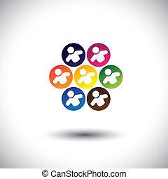 concetto, ufficio, scuola, astratto, bambini, icone, circle., anche, colorito, personale, grafico, rappresenta, colleghi, bambini, personale, questo, &, gioco, ecc, vettore, giochi, squadra, o