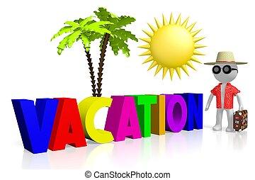 concetto, vacanza, 3d