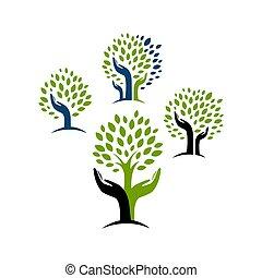 concetto, vettore, logotipo, ispirazione, albero, disegno, eco, verde, mano
