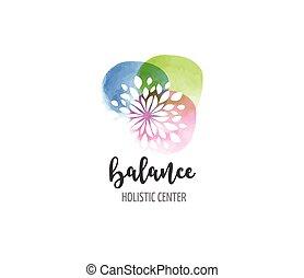 concetto, wellness, yoga, -, acquarello, medicina, vettore, icona, logotipo, alternativa, meditazione, zen
