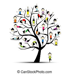 concetto, yoga, pratica, albero, disegno, tuo