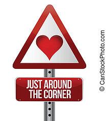 concettuale, amore, segno strada