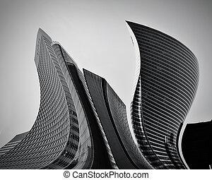 concettuale, astratto, grattacieli, affari, architettura