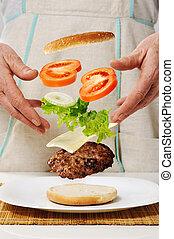 concettuale, fabbricazione, hamburger